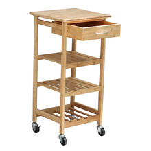 bamboo wooden kitchen trolley dining cart