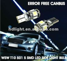 Wholesale ! 2Pcs Canbus T10 194 168 W5W 501 5050 5SMD LED White Car Side Tail Light Bulb Lamp