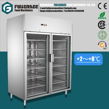 1285L stainless steel double glass doors side-by-side display vertical refrigerator