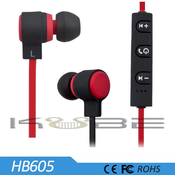 Flat cable black bluetooth in-ear earphone for smart mobile phone