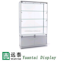 Display Case with 7 Halogen Top and Side Lights, 3 Fixed Shelves, Hinged Doors