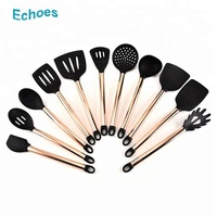 Popular kitchen copper coated stainless steel handle silicone cooking utensils