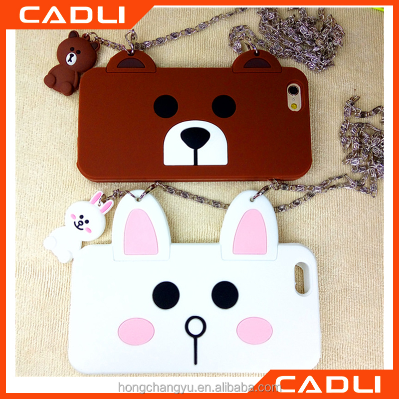 Lovely 3d cartoon bear rabbit soft silicone shockproof case cover with chain for iPhone 5 5s se