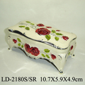Pretty Rose-engraved Enamel Silver Alloy Jewelry Box