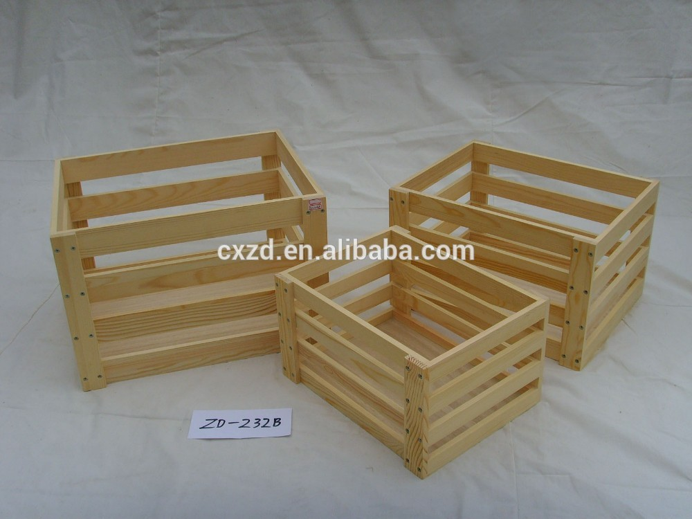 Rectangle wooden crate can be customized fruit crate for Buy wooden fruit crates