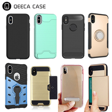 Shockproof credit card slots stand holder TPU PC hard protector phone cases for iphone x , for iphone x case
