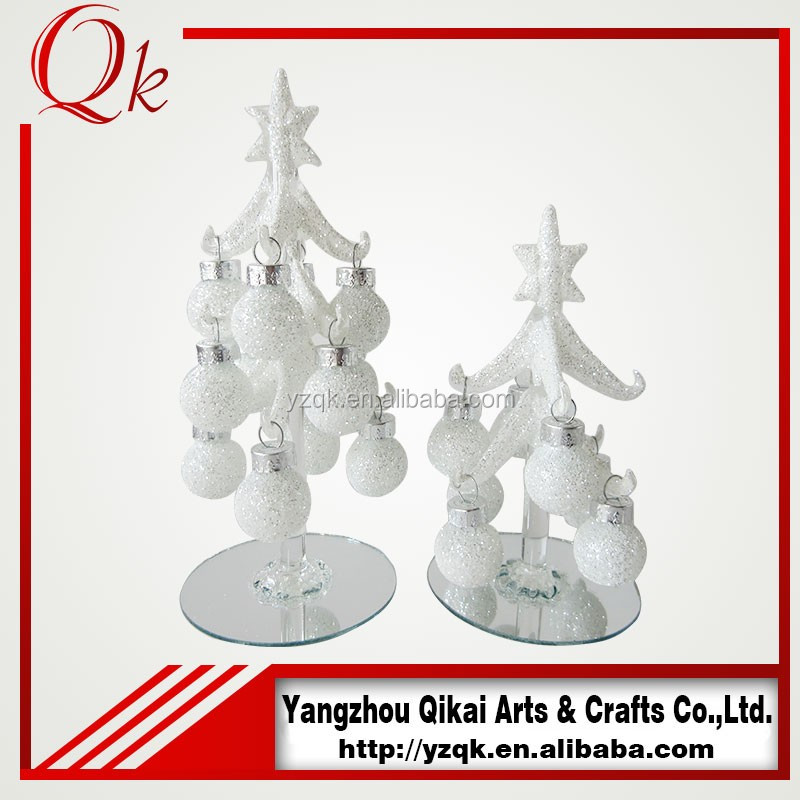 Decorative glass christmas tree with white balls for home decoration