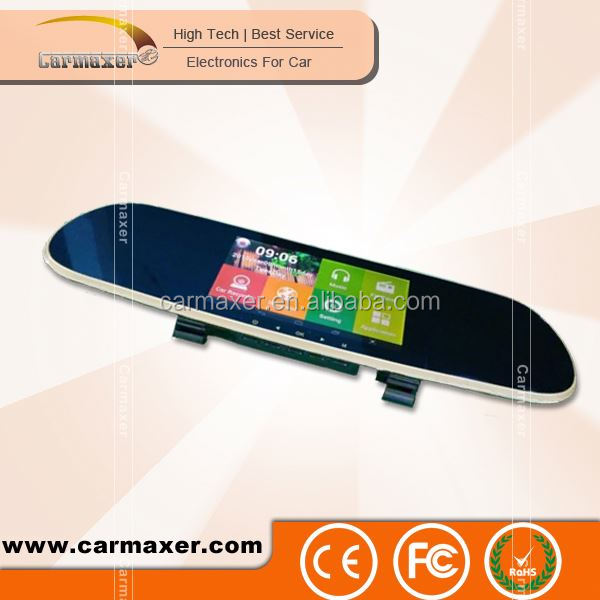 Android Navigation Dual Camera Car DVR rearview mirror with gps bluetooth camera
