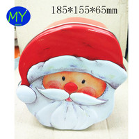 Santa Claus Shape High Quality Tin Can Father Christmas Tin Box For Gift Packing