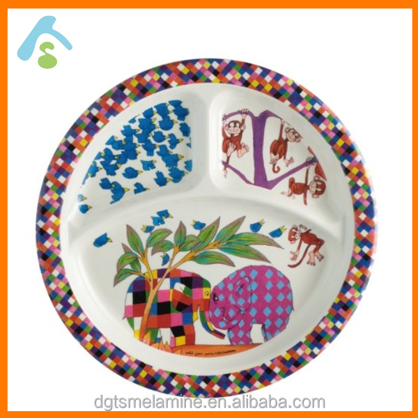 hot sale Kids melamine 3 compartment plate