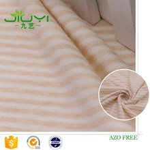 wholesale natural striped jersey knit wholesale organic cotton fabric by the yard, pure cotton baby bedding fabric