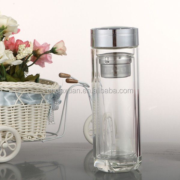 Good Quality Chinese Factory Whole Double Walled Glass Infuser Tea Bottle