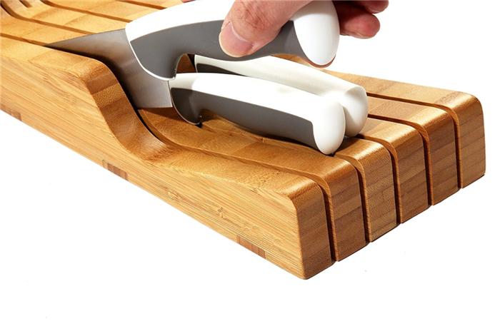 Drawer Bamboo Knife Storage Block or Keeps Knives Protected and Organized