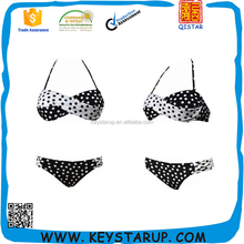 Wholesale Sexy Woman Black and white Twist Bandeau Polka Dot Swimwear Bikini