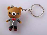 Custom plastic 3d Soft PVC acrylic bear Character reflective key chain for promotion