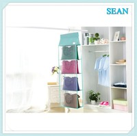 Transparent Dust proof Non-woven 6 Pocket Hanging Storage Bag Closet Hanger Purse Bag Organizer