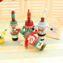 Factory Supply Holiday Decorative Red White Sweater shape Christmas Wine Bottle Covers