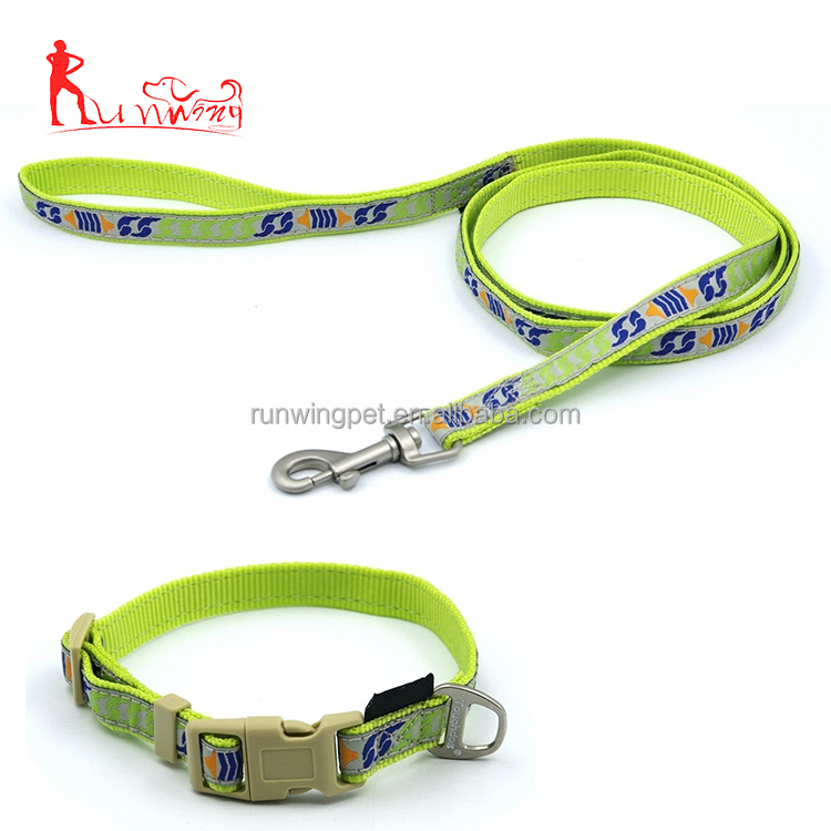 Custom cute pattern durable hardware dog leash and collar set for small and medium puppy