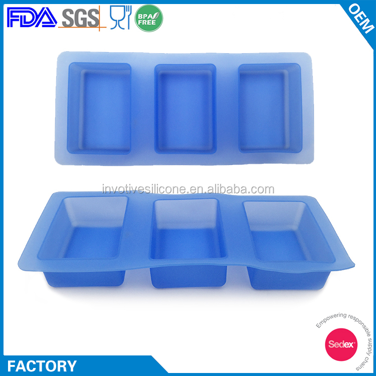 Easy Demold 3 Cavity Rectangle Silicon Handmade Soap Concrete Moulds