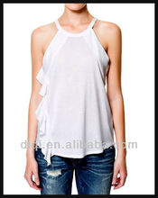 blank white pleated tops halter top ladies sexy blouse jersey tops