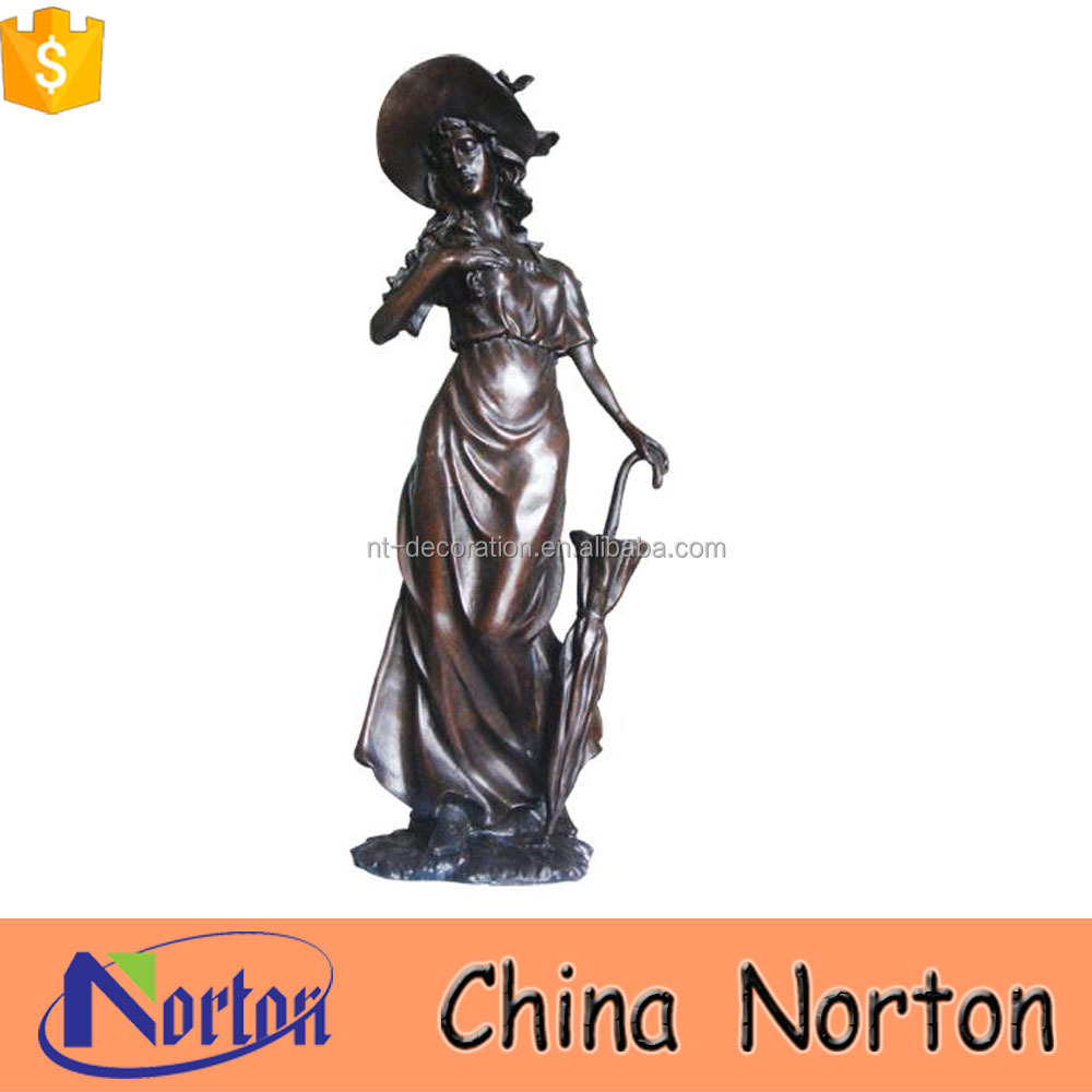 custom metal statue bronze lady sculpture lamps NTBH-S740X