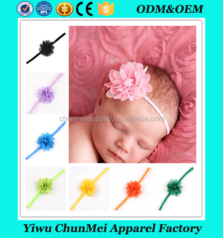 Baby Hair Boutique Infant Hair Band Elastic Chiffon Flowers Headbands