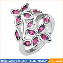 pink summer flower cubic zirconia silver ring