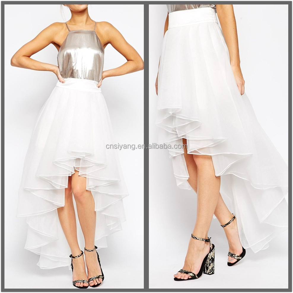 Woman summer fashion latest skirt design pictures organza skirt, ruffled table skirt