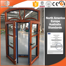 Wholesale Europe style modern windows with grill /red oak wood french arched casement windows