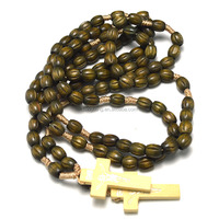 wood and bead necklace,olive wood rosary beads,2015 free rosary bead necklace