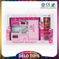 best gift for little girls pink mini kids kitchen set with doll DE0248002