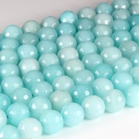 Hot sale natural gemstone round facted blue amazonite beads