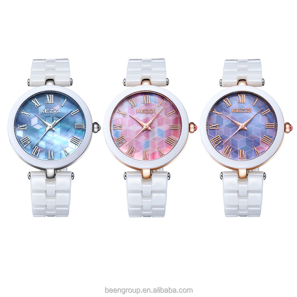 Kezzi Watches analog ceramics dreamlike dial gold case white band lady watch k1235
