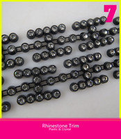 Plastic Glass Rhinestone Trim Black Base Chain H Shape 10 Yards Clear Rhinestone Trim