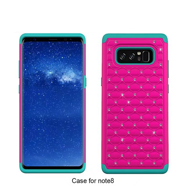 Bulk cheap mobile phone accesories 3 in 1 diamond case for samsung galaxy note 8