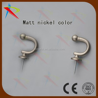 Mat Nickel simple metal curtain hooks /wall drapery tiebacks
