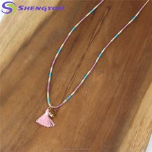Adjustable Fashion Jewelry Colorful Import Antique Beaded Tassel Necklace For Women