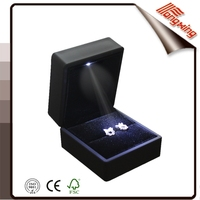 Manufacture black led luxury jewelry ring box tongxing