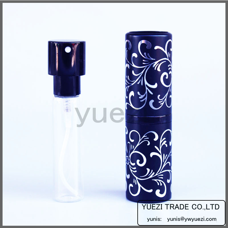 15 ml relief vine rotating electrochemical aluminum perfume bottle perfume of portable packing bottle