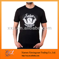 Men 95% Cotton, 5% Lycra Black Color Round Neck T Shirt with Rubber Printing