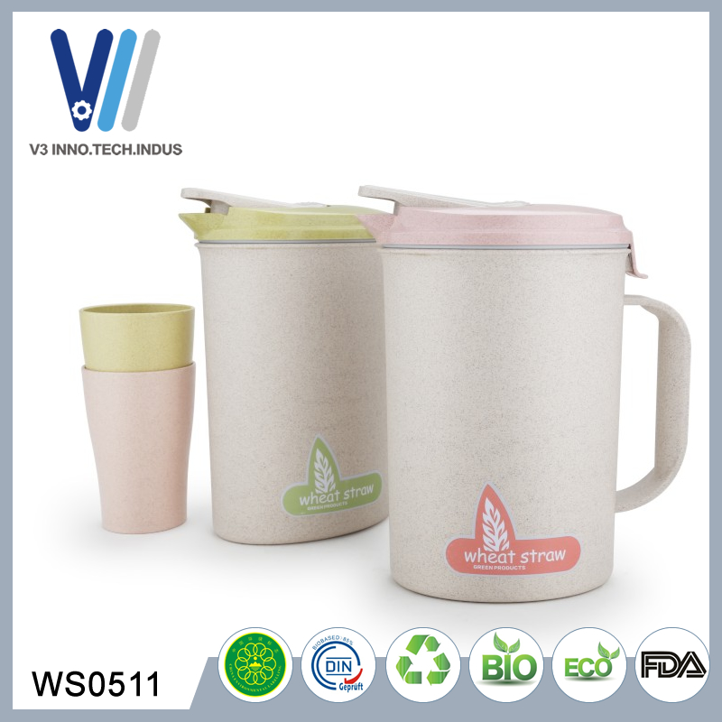 Wholesale ECO Wheat Starw 2.2L Plastic Water Cooler Jug With Cups