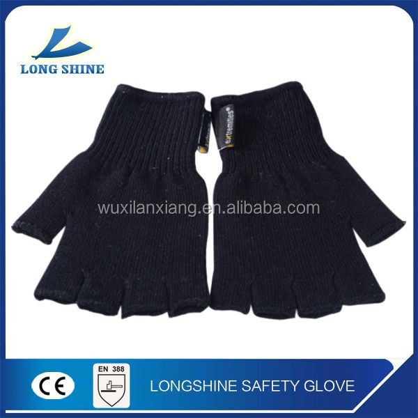 Knitted Fingerless glove in soft black acrylic with high quality