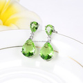 Real Gold Plating Jewelry Unique Green Crystal Cutting Water Drop Ladies Earring