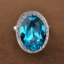 Unisex Fashion Jewelry Cubic Zircon Blue Gemstone Wedding Engagement Vampire Ring
