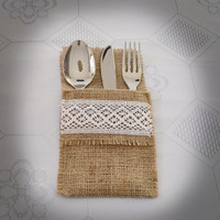 Shabby Silverware Holder,Burlap Rustic Country Wedding, Lace,Pearl