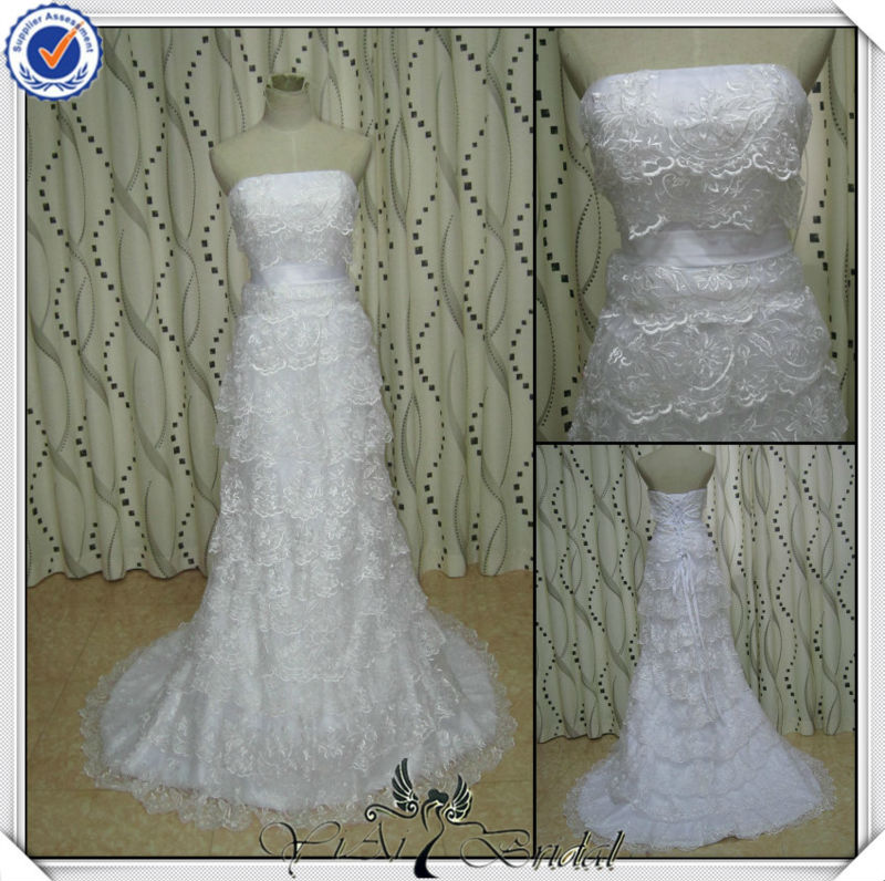 JJ2772 Newest Beading Mermaid Lace Real Sample Bridal Dress 2014