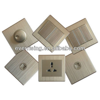 New wire drawing panel design electrical Metal wall Switch and Socket
