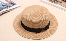 Female small gift hat tide female British summer straw hat Short eaves bowknot ceiling covered the sun beach hat