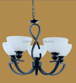 Hot Sale E27 CE 60W White Glass Black Metal Pendant lighting for Living Room