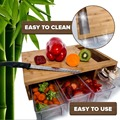 Quality Bamboo chopping/Cutting Board with 4 plastic drawers